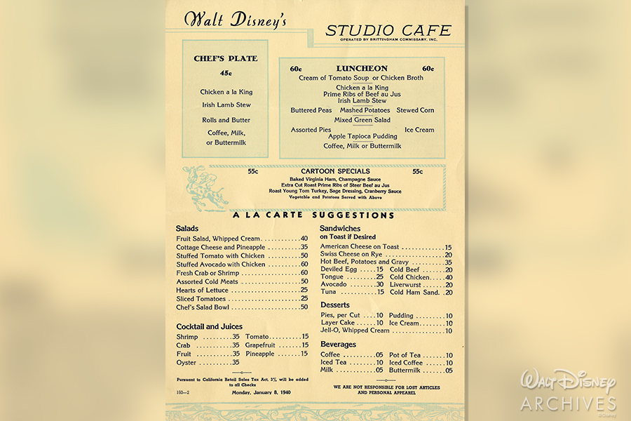 Walt Disney's Studio Cafe Menu 1940
