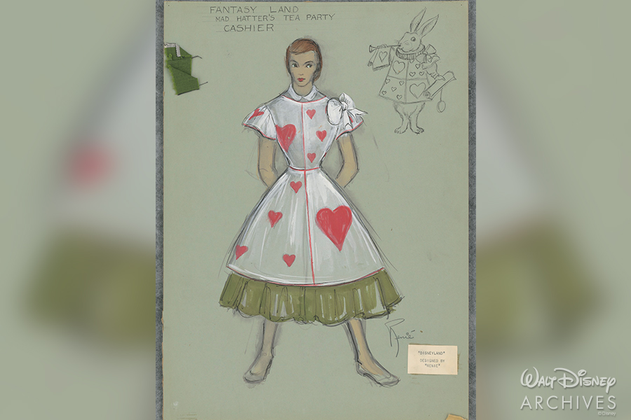 Fantasy Land Mad Hatter's Tea Party Cashier costume sketch by Renié Conley.