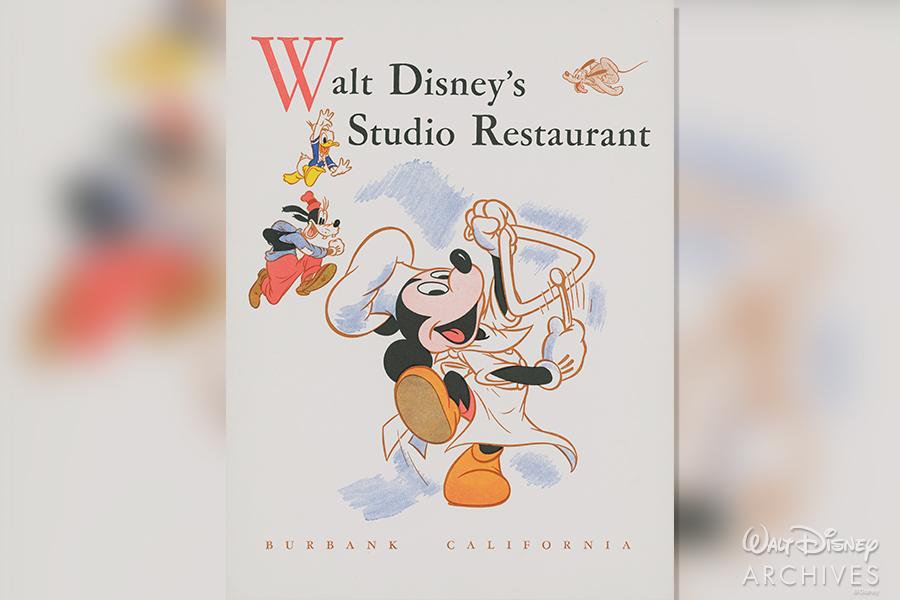 Walt Disney's Studio Restaurant Menu 1940