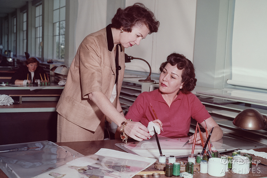 Grace Bailey supervising painting of Sleeping Beauty cels, 1959