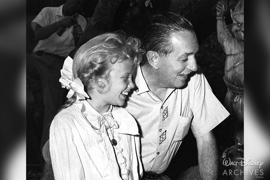 Walt Disney on the set of Pollyanna with Hayley Mills and Kevin Corcoran.