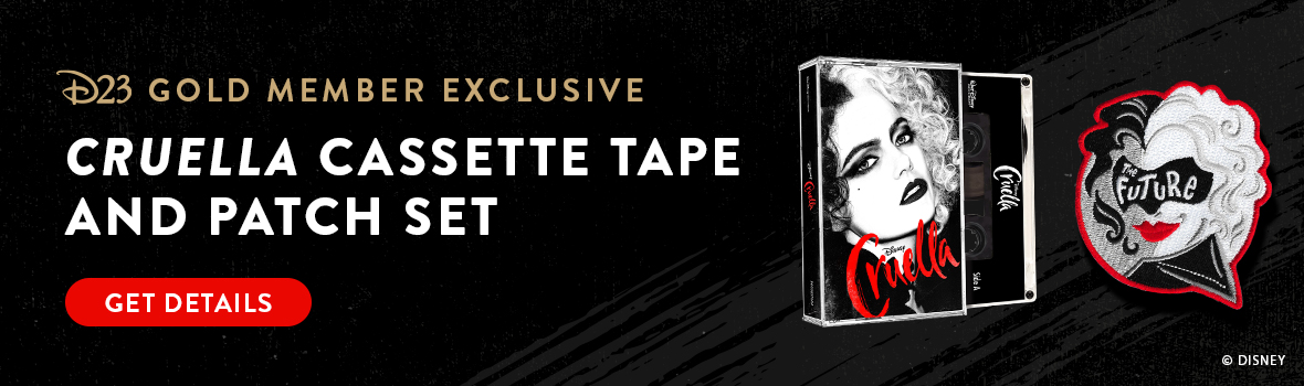 D23 Gold Member Exclusive | Cruella Cassette Tape and Patch Set  - Get Details